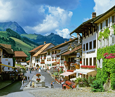 canton Fribourg Gruyeres historical lane local old town picture street Switzerland Europe town